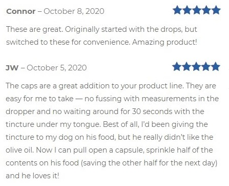 Frogsong Farm CBD Capsules Customer Reviews