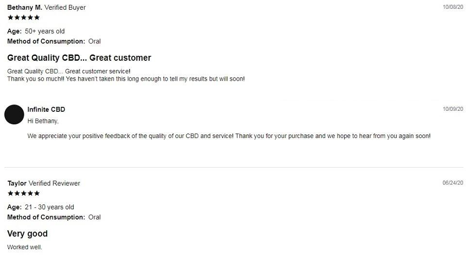 Infinite CBD AM Capsules Customer Reviews