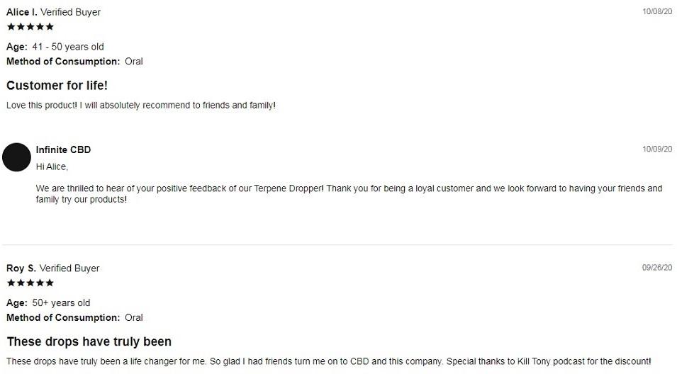 Infinite CBD Terpene Dropper Customer Reviews