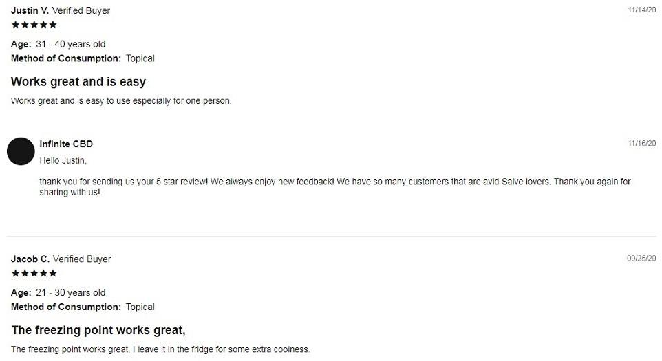 Infinite CBD Topicals Customer Reviews