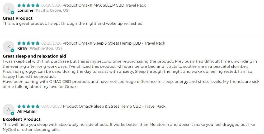 Omax Health CBD Sleep Capsules Customer Reviews