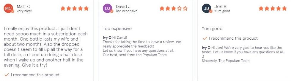 Populum CBD Oil Customer Reviews