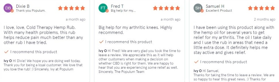 Populum CBD Skin Products Customer Reviews