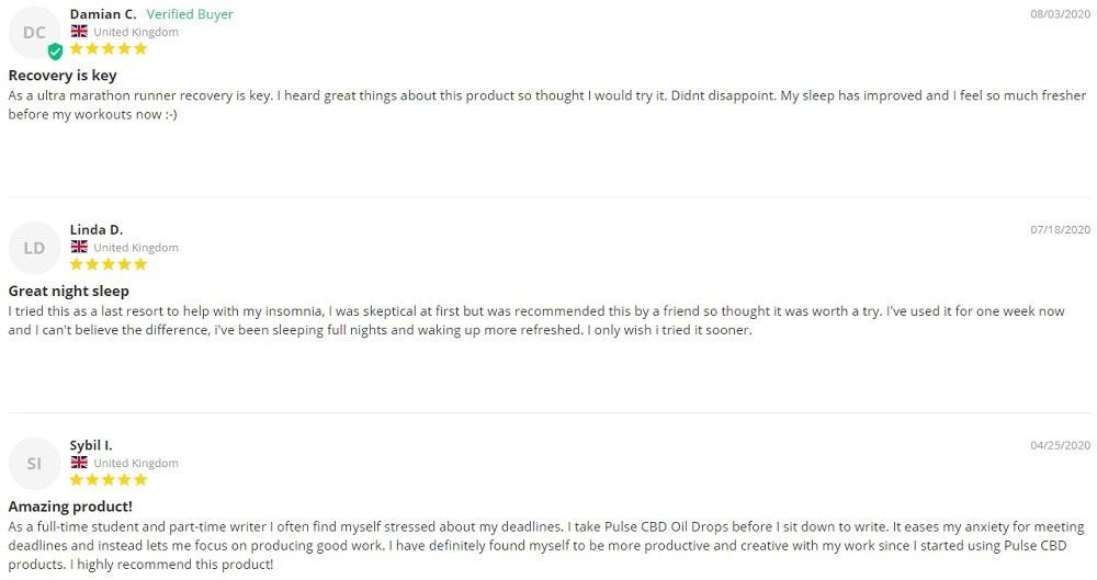 Pulse CBD Oil Customer Reviews