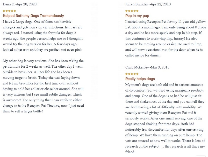 Receptra Naturals CBD For Pets Customer Reviews