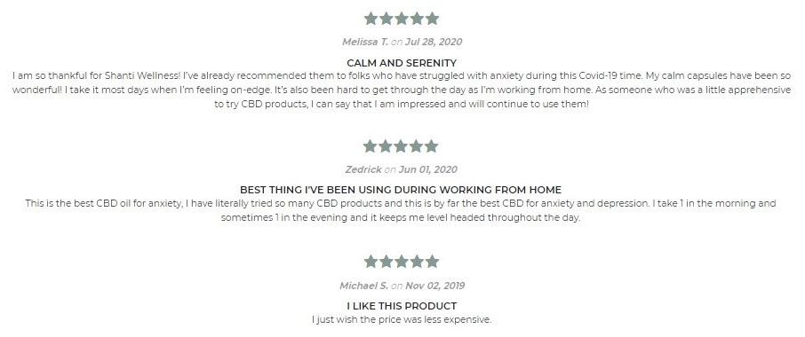 Shanti Wellness CBD Capsules Customer Reviews