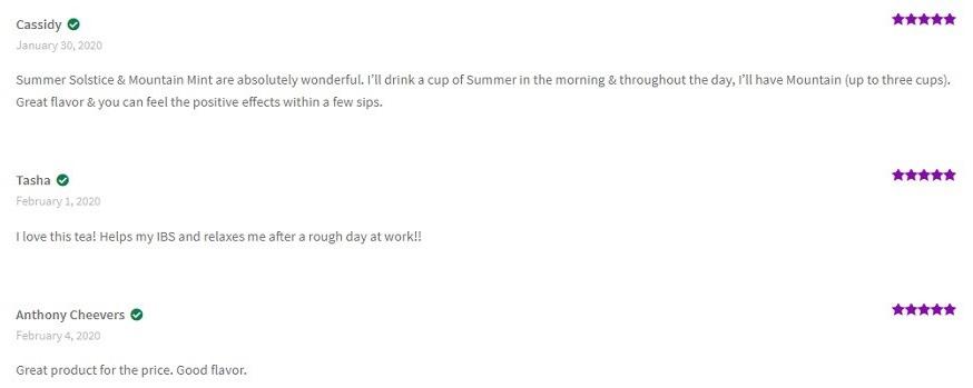 Tokn CBD Tea Customer Reviews
