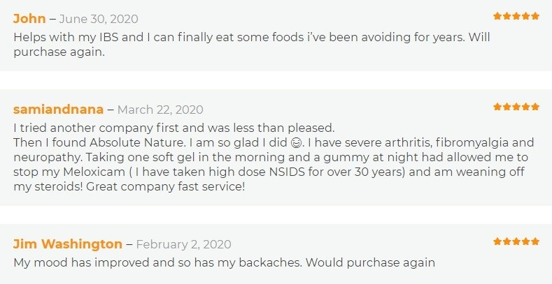 Absolute Nature CBD Capsules Customer Reviews
