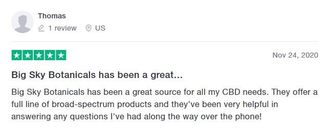 Big Sky Botanicals CBD Customer Review
