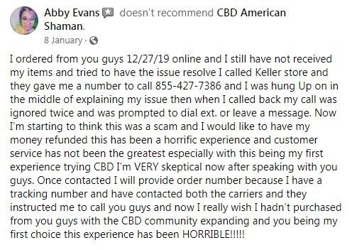 CBD American Shaman Customer Review 2