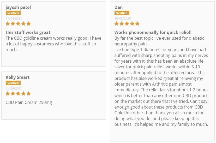CBD GoldLine CBD Topicals Customer Reviews