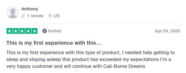 Cali Born Dreams CBD Customer Review 4