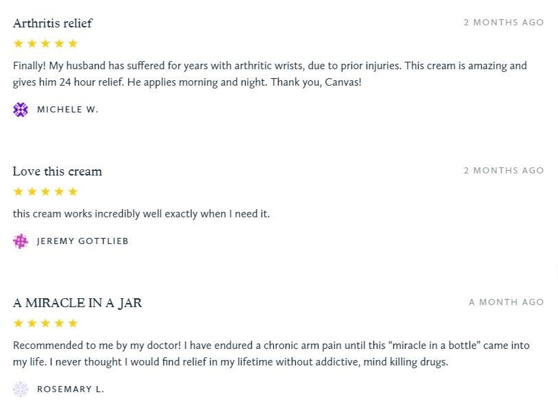 Canvas 1839 CBD Topicals Customer Reviews