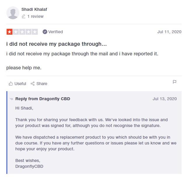 Dragonfly CBD Customer Review