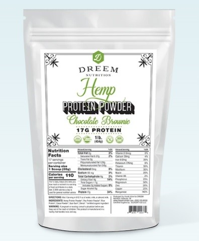 Dreem Nutrition CBD Organic Hemp Protein Powder