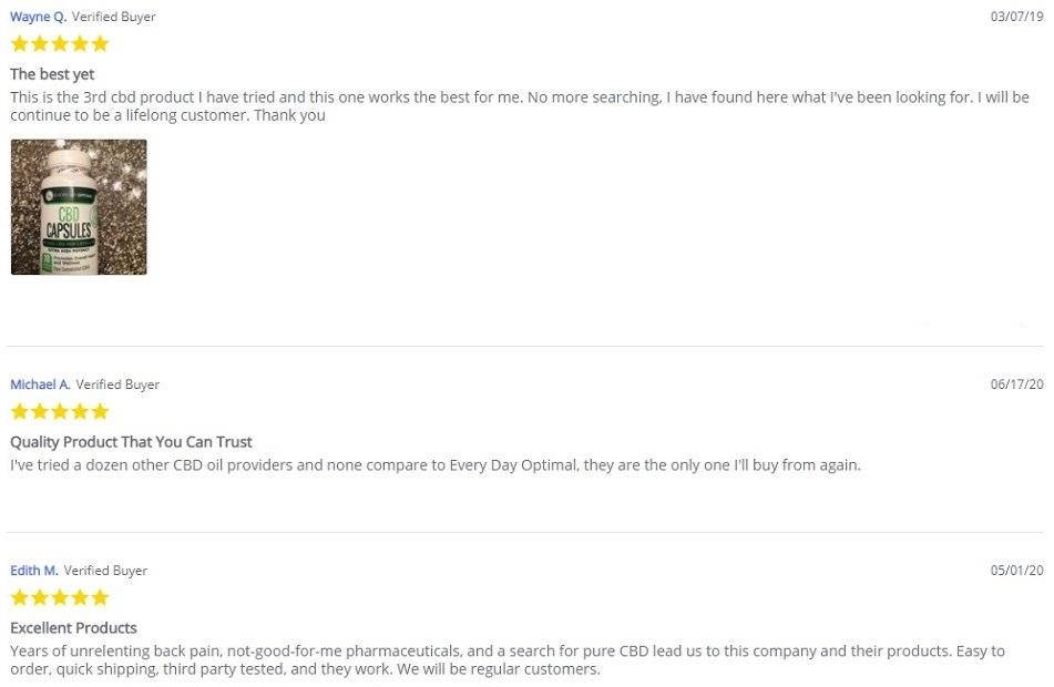 Every Day Optimal CBD Capsules Customer Reviews