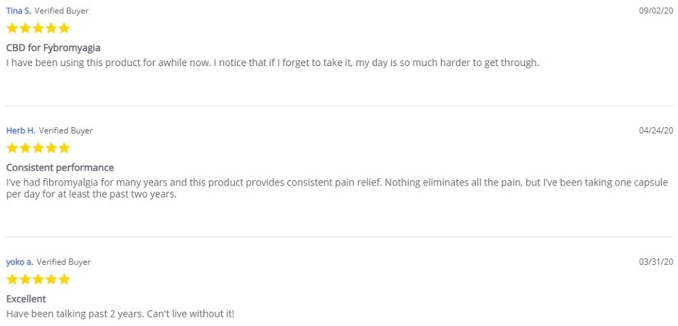 Every Day Optimal CBD Fibro Relief CBD Capsules Customer Reviews