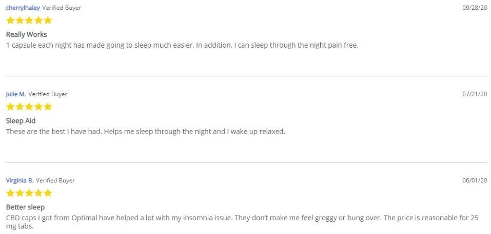Every Day Optimal CBD Nighttime Capsules Customer Reviews