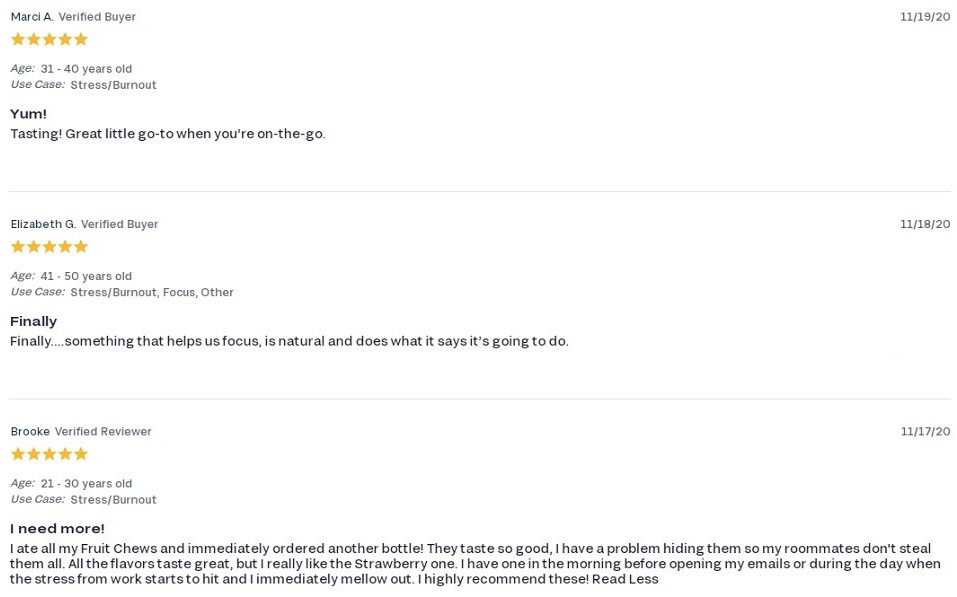 FOCL CBD Fruit Chews Customer Reviews