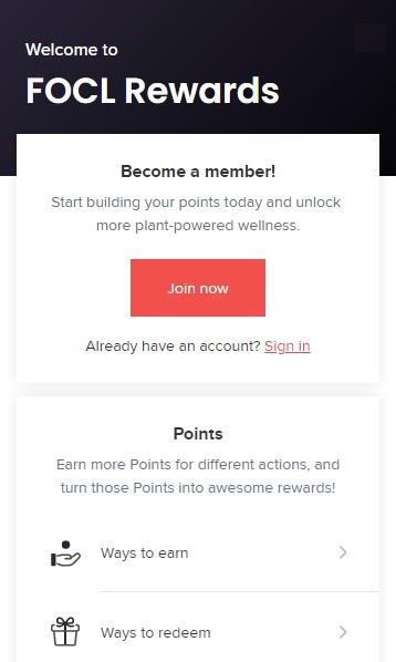 FOCL CBD Rewards Program