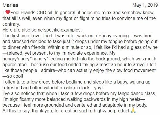 Feel Brands CBD Customer Review 3