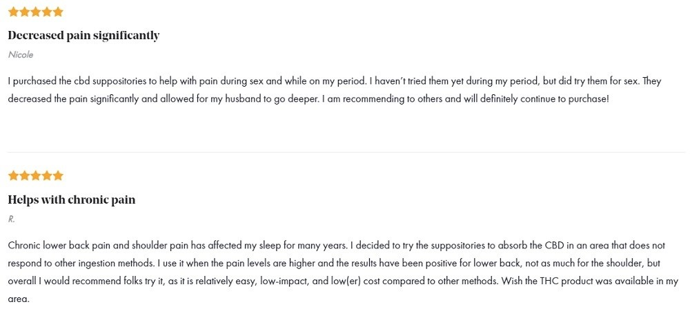 Foria CBD Suppositories Customer Reviews