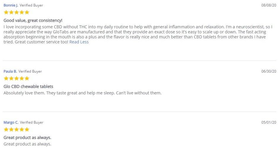 Glo CBD Glopack Customer Reviews