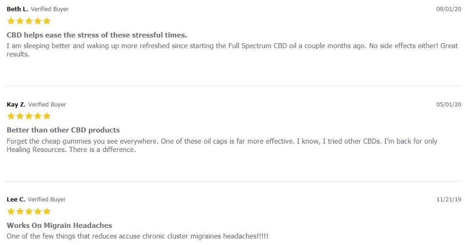 Healing Resources CBD Capsules Customer Reviews