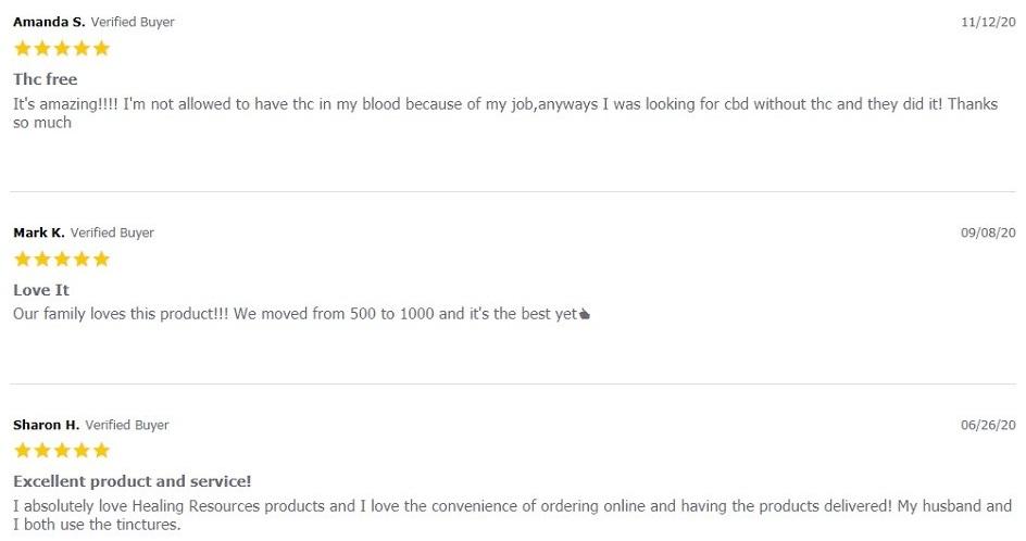Healing Resources CBD THC Free CBD Tincture Customer Reviews