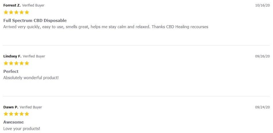 Healing Resources CBD Vape Customer Reviews