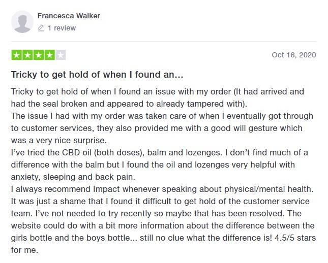 Impact CBD Customer Review 2