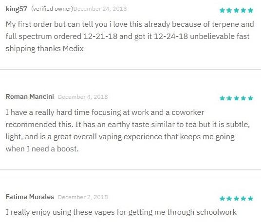 Medix CBD Vape Customer Reviews
