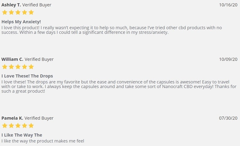 NanoCraft CBD Broad Spectrum CBD Softgels Customer Reviews