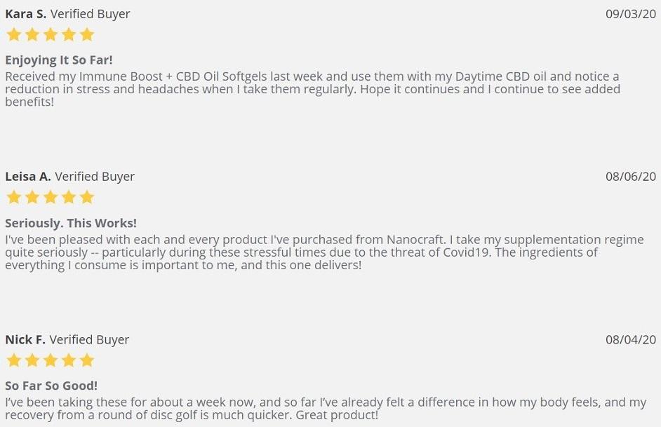 NanoCraft CBD Capsules Customer Reviews