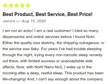 NoHiCBD Nano Particle Water Soluble Drops Customer Review