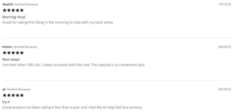 Onyx and Rose CBD Capsules Customer Reviews