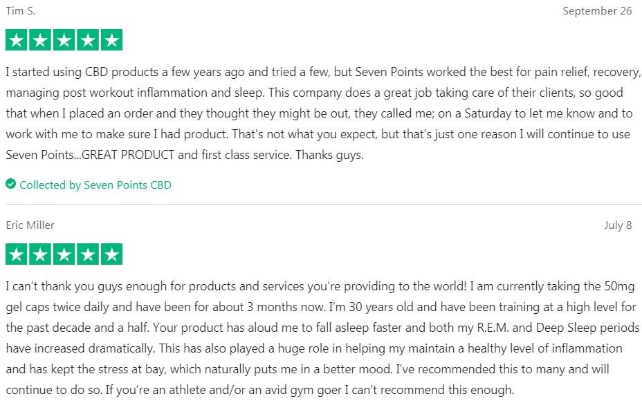 Seven Points CBD Capsules Customer Reviews