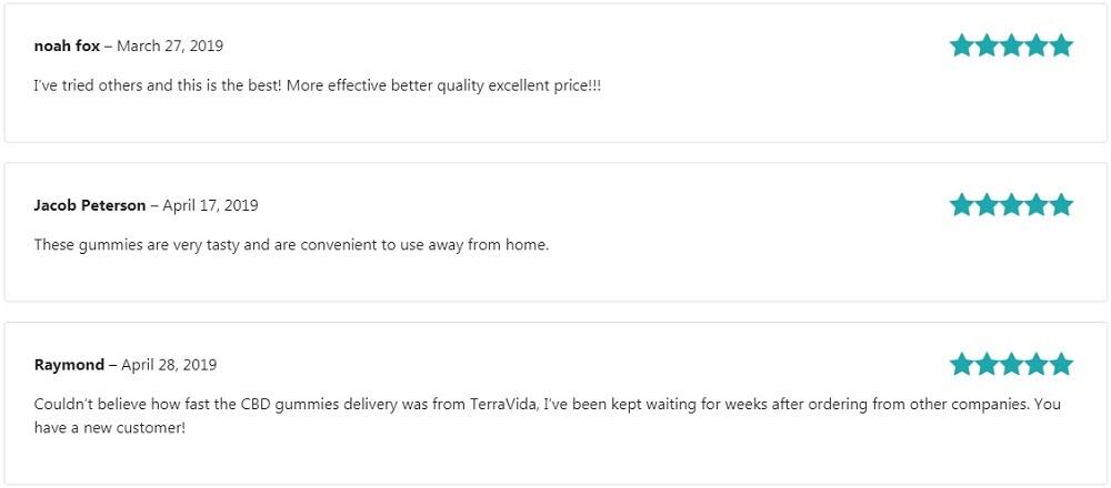 Terra Vida CBD Edibles Customer Reviews