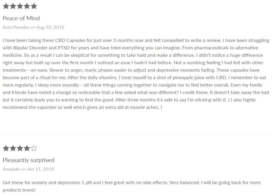 Wildflower CBD Capsules Customer Reviews