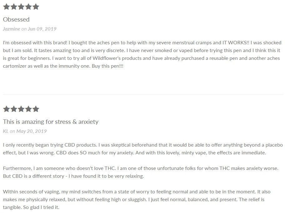 Wildflower CBD Vape Customer Reviews