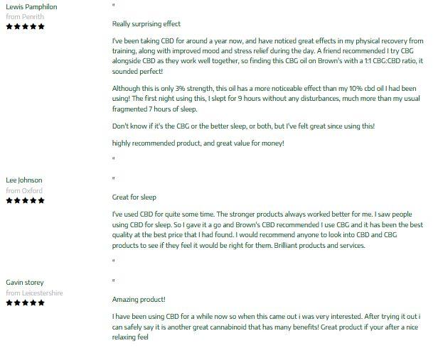 Browns Botanicals CBD CBG Hemp Oil Customer Reviews
