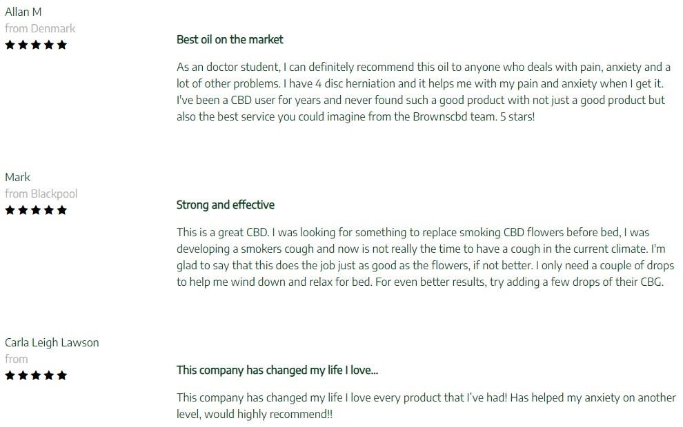 Browns Botanicals CBD Oil Customer Reviews