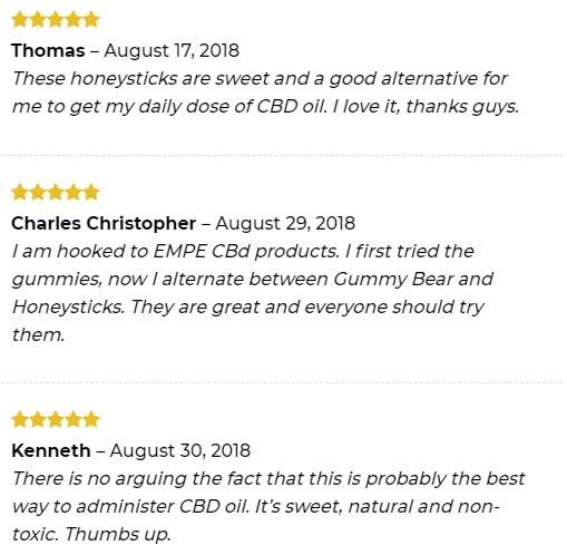 Empe USA CBD Honey Sticks Customer Reviews