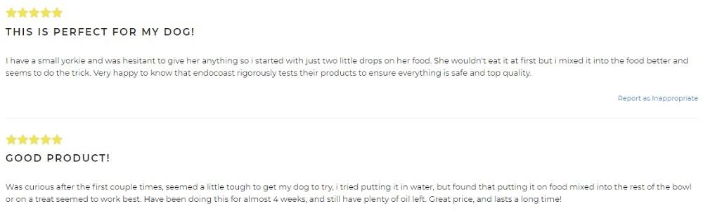 EndoCoast CBD For Pets Customer Reviews