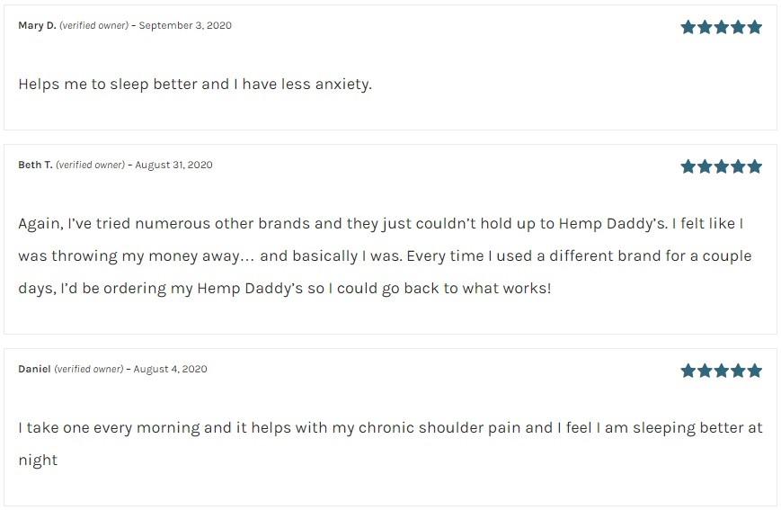 Hemp Daddys Therapeutics CBD Capsules Customer Reviews