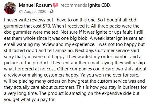 Ignite CBD Customer Review 4