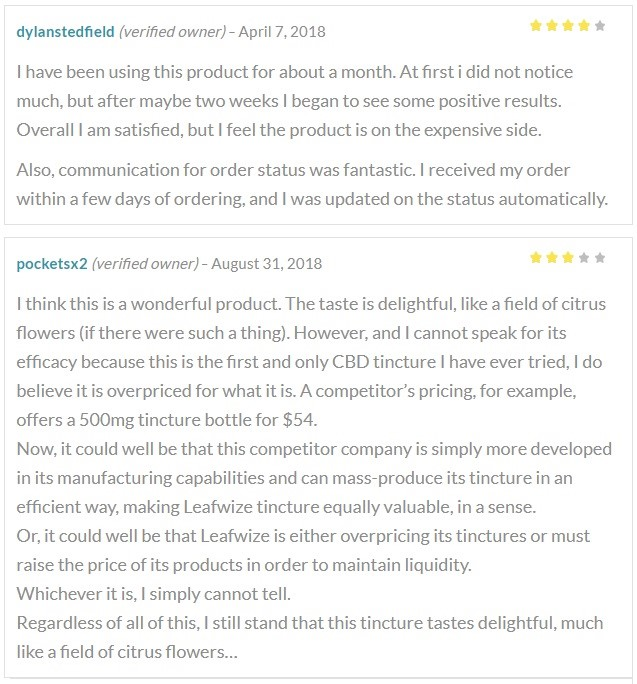 Leafwize Naturals CBD Oil Customer Reviews