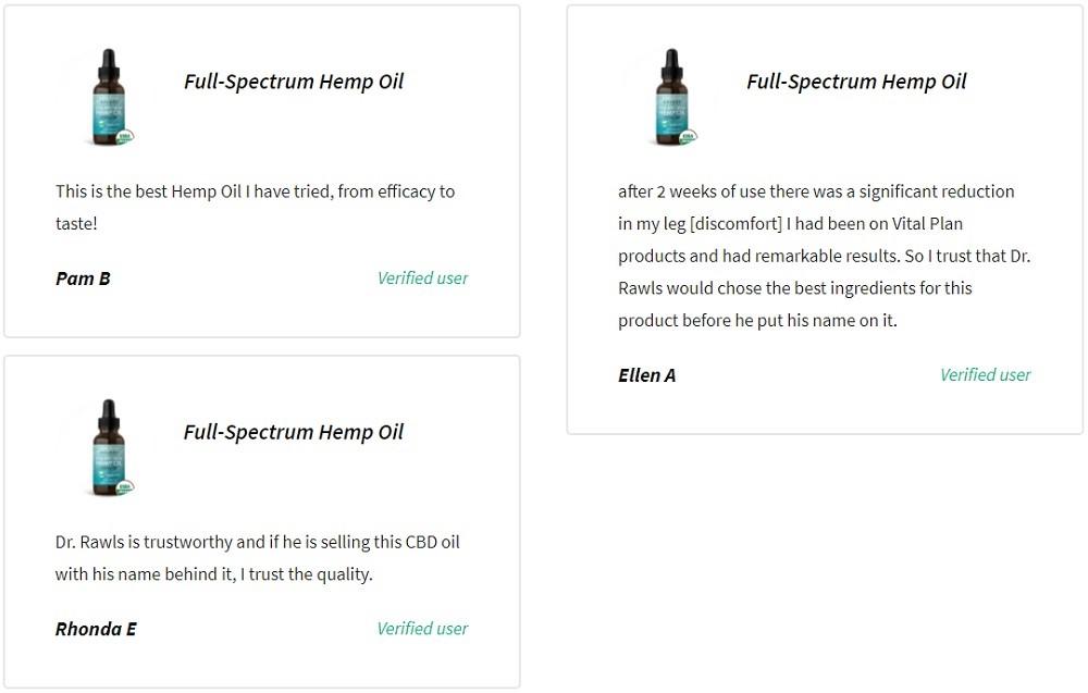 Vital Plan Select CBD Full Spectrum Hemp Oil Customer Reviews