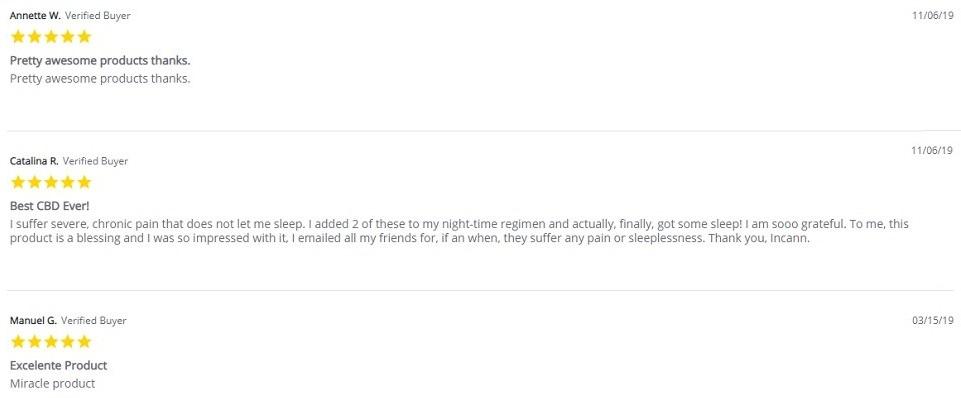 Incann CBD Full Spectrum CBD Capsules Customer Reviews